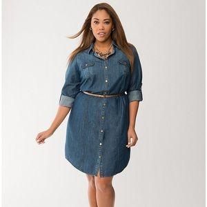 LANE BRYANT SIZE 14/16 CHAMBRAY SHIRT DRESS $89